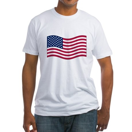 US Waving Flag Fitted T-Shirt