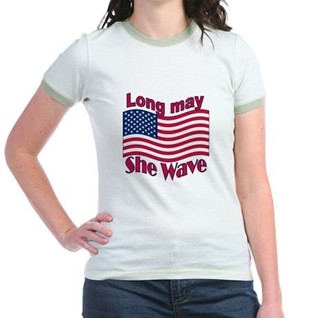 Long may she wave Jr. Ringer T-Shirt
