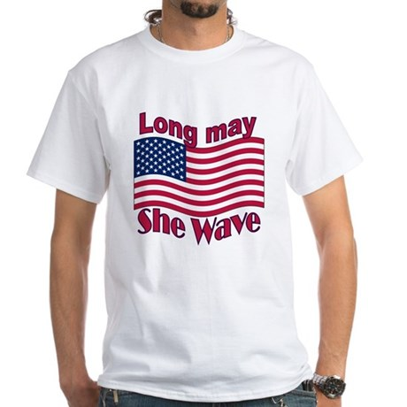 Long may she wave White T-Shirt