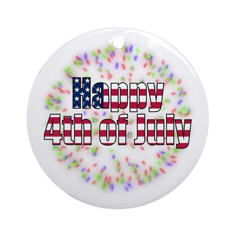 Happy 4th of July Fireworks Ornament (Round)