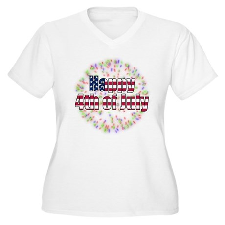 Happy 4th of July Fireworks Women's Plus Size V-Ne