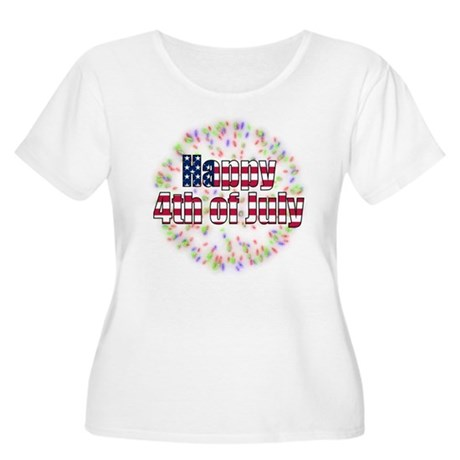 Happy 4th of July Fireworks Women's Plus Size Scoo