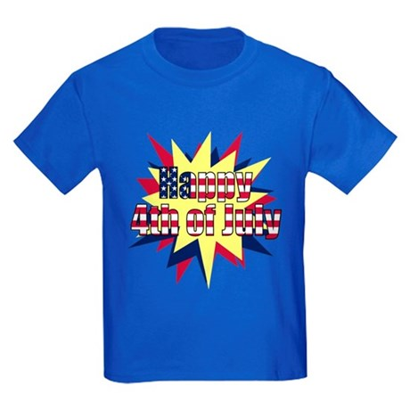 Starburst 4th of July Kids Dark T-Shirt