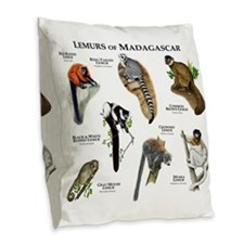 Lemurs of Madagascar Burlap Throw Pillow