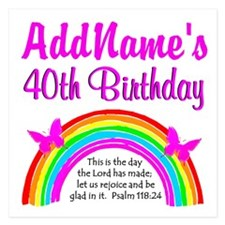 BLESSED 40TH 5.25 x 5.25 Flat Cards
