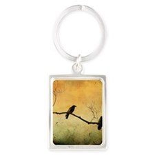 Two Crows On A Branch Portrait Keychain
