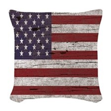 Cracked American Flag Woven Throw Pillow