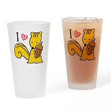 I Love Squirrels Drinking Glass