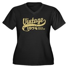 Vintage 1974 Women's Plus Size V-Neck Dark T-Shirt