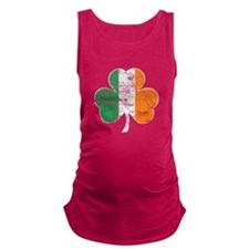 Vintage Irish Flag Shamrock Maternity Tank Top