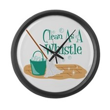 Clean As A Whistle Large Wall Clock