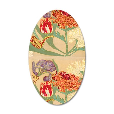Art Nouveau Flowers 35x21 Oval Wall Decal