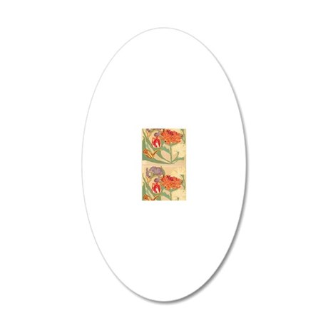 Art Nouveau Flowers 20x12 Oval Wall Decal