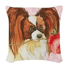 Papillon Rose Woven Throw Pillow
