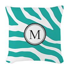 Teal Black Zebra Monogram Woven Throw Pillow