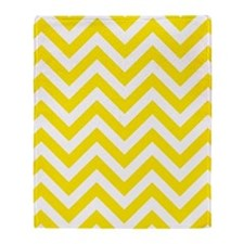 Yellow and White chevrons 5 Throw Blanket