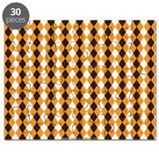 Halloween Cute Pattern Orange Black Argle Puzzle