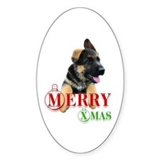 GSD Pup XMas Oval Decal
