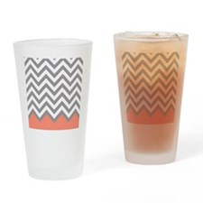 Grey and Coral Chevrons Drinking Glass