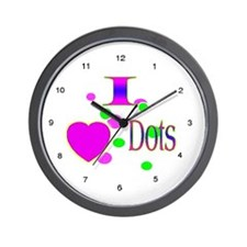 I Love Dots Wall Clock