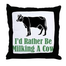 Milking A Cow Throw Pillow