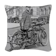 Motorcycle Police Officer Woven Throw Pillow