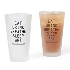 Eat Drink Breathe Sleep Art Black Text Drinking Gl