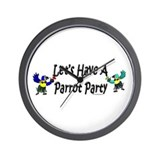 Let's Have A Parrot Party Wall Clock
