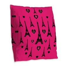 Trendy Pink and Black I LOVE PARIS Burlap Throw Pi