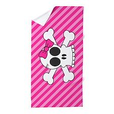 Cute Skull and Crossbones with Pink Bo Beach Towel