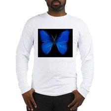 Blue Butterfly Fractal Long Sleeve T-Shirt