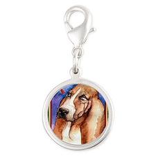 Basset Hound Dog Christmas Silver Round Charm
