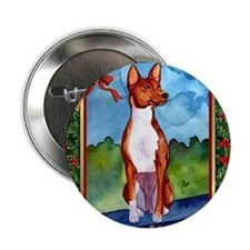 "Basenji Dog Christmas 2.25"" Button"