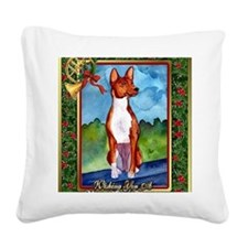 Basenji Dog Christmas Square Canvas Pillow