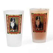 Bernese Mountain Dog Christmas Drinking Glass