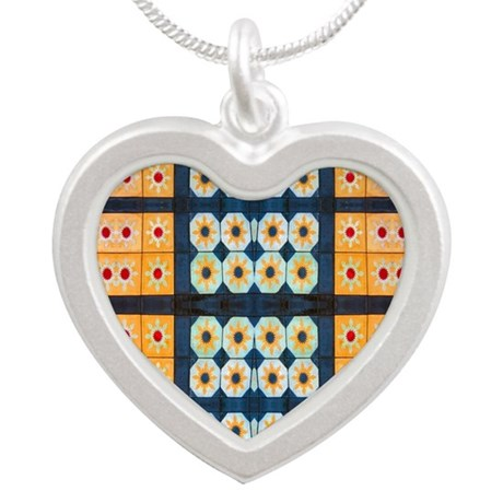 Yellow Blue Pattern Tile Silver Heart Necklace