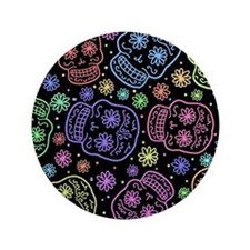 """Day Of The Dead Pattern 3.5"""" Button"""