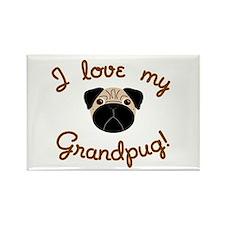 I love my Grandpug Rectangle Magnet