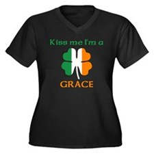 Grace Family Women's Plus Size V-Neck Dark T-Shirt