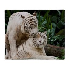 Kiss love peace and joy white tigers Throw Blanket
