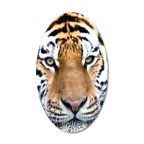 Makari Tiger Confidence peac 35x21 Oval Wall Decal