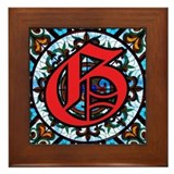 Stained Glass G Framed Tile