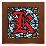 Stained Glass K Framed Tile