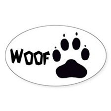 """Woof"" Oval Decal"