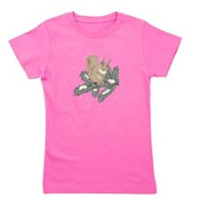 Winter Squirrel on Branch Girl's Tee