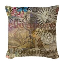 Rome Vintage Italy Travel Collage Woven Throw Pill