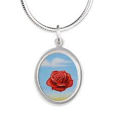 Meditative Rose Silver Oval Necklace