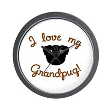 I love my Grandpug (Black) Wall Clock