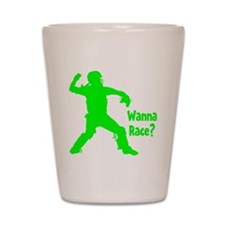 green2 Wanna Race on black Shot Glass
