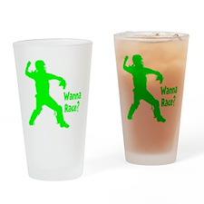 green2 Wanna Race on black Drinking Glass